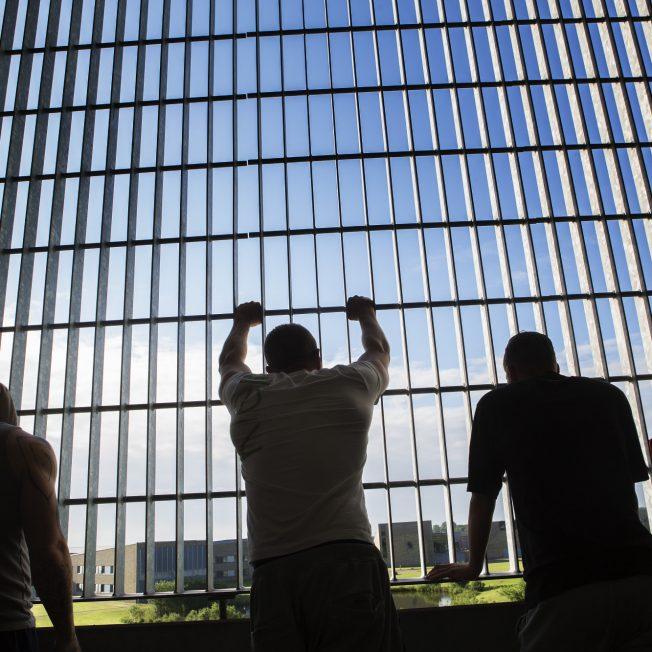Billede af indsatte bag hegn