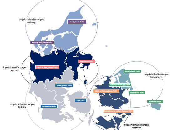 Danmarkskort over, hvor du finder Ungekriminalforsorgen